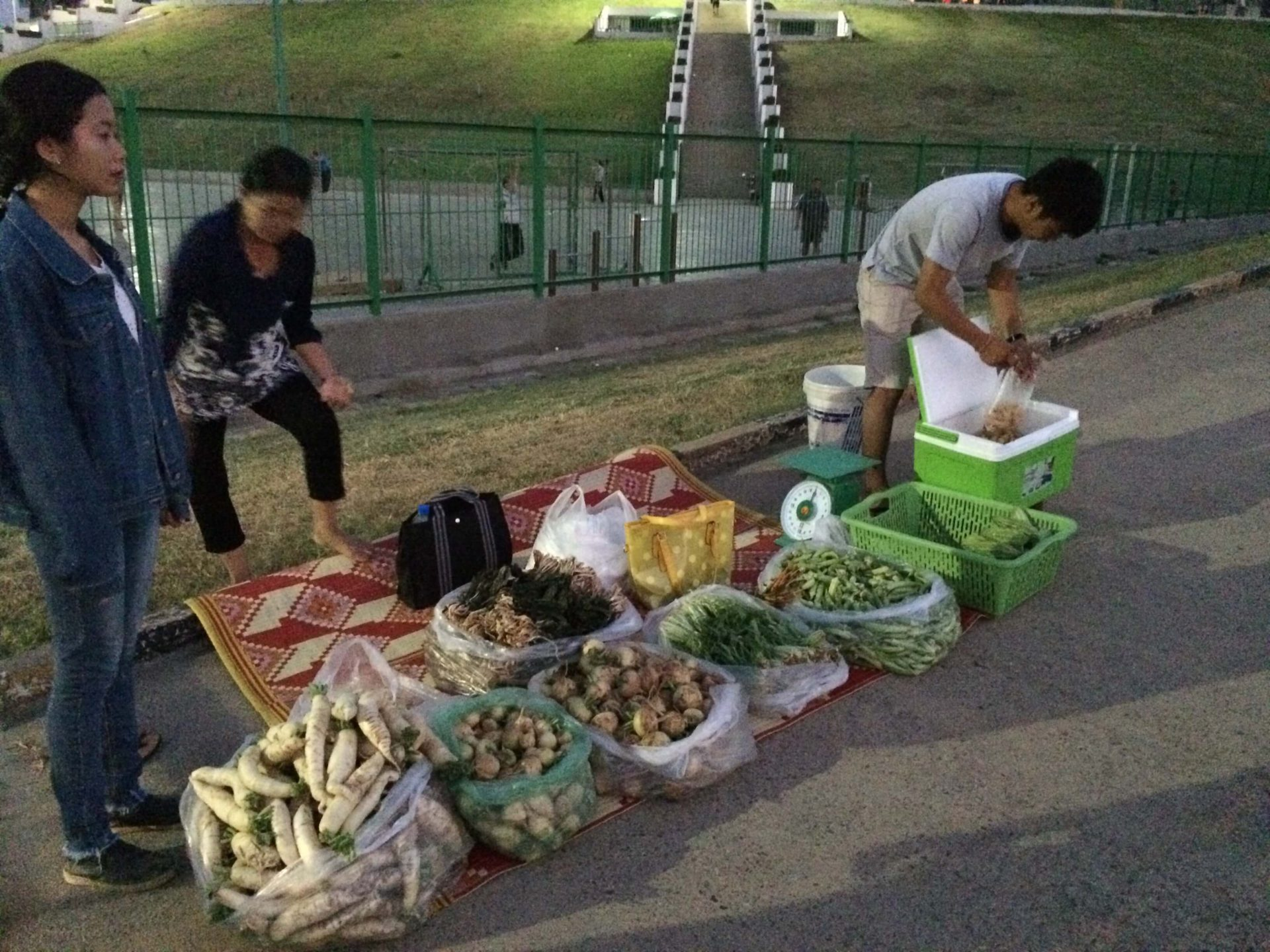 カンボジアの朝市で野菜を販売しました