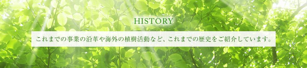 これまでの事業の沿革や海外の植樹活動など、これまでの歴史をご紹介しています。